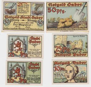 3 Banknoten Notgeld Stadt Daber Dobra in Pom. 1.5.1921 (119043)