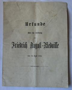 Urkunde über die Stiftung einer Friedrich August Medaille 23.April 1905 (125268)