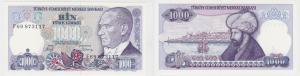 1000 Lira Banknote Türkei Türkiye 1970 bankfrisch UNC Serie F (129064)