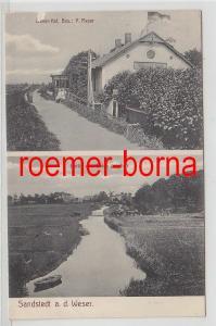 81802 Mehrbild Ak Sandstedt a.d. Weser Weser-Hof, Partie vom Deich gesehen 1911