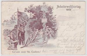 83206 Ak Gruß aus St.Gallen Arbeiterweltfeiertag 1903