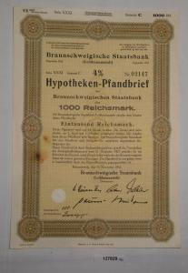 1000 RM Pfandbrief Braunschweigische Staatsbank 15. November 1941 (127829)