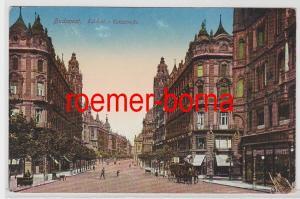 83210 Ak Budapest Ungarn Eskü Strasse mit Geschäften um 1910