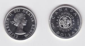 1 Dollar Silber Münze Canada Kanada Lilie, Kleeblatt, Distel & Rose 1964(120044)