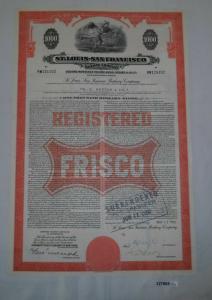 1000 Dollar Aktie St.Louis - San Francisco Railway Company 13. Mai 1960 (127865)