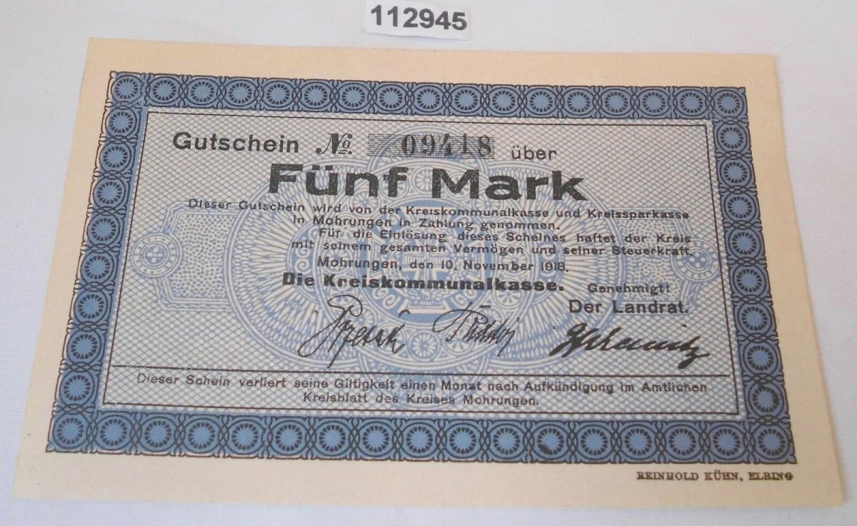 5 Mark Banknote Notgeld Kreis Mohrungen Morąg 10.November 1918 (125362) 0