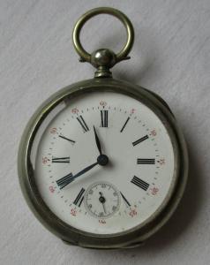 Seltene Nickel Herren Taschenuhr mit Schlüsselaufzug um 1900 (134509)
