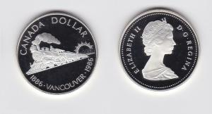 1 Dollar Silber Münze Canada Kanada 100 Jahre Eisenbahn Vancouver 1986 (119699)