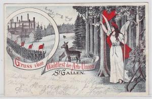 40960 Ak Gruß vom Waldfest der Arbeiter Union St.Gallen 1903