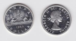 1 Dollar Silbermünze Kanada Indianer im Kanu 1963 (119694)