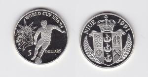 5 Dollar Silber Münze Niue 1991 Fussball WM USA 1994  (119706)