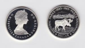 1 Dollar Silbermünze Kanada 100 Jahre National Parks 1885-1985 (119631)