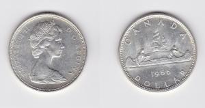 1 Dollar Silbermünze Kanada Indianer im Kanu 1966 (119695)
