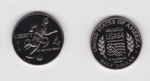 1/2 Dollar Nickel Münze USA Fussball WM 1994 (119700)
