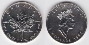 5 Dollar Silber Münze Canada Kanada Maple Leaf 1992 (122042)