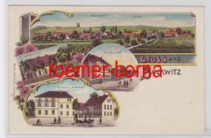 81473 Ak Lithografie Gruss aus Bockwitz Gasthaus u. Wohnhaus usw. um 1900