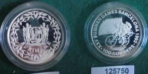 100 Gulden Silbermünze Suriname Olympiade Barcelona Radfahrer 1992 (125750)