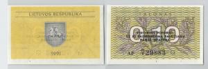 0,10 Talonas Banknote Litauen 1991 bankfrisch UNC (129104)