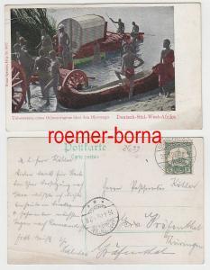63852 Ak Deutsch-Süd-West-Afrika Übersetzen Ochsenwagen über den Okovango 1906