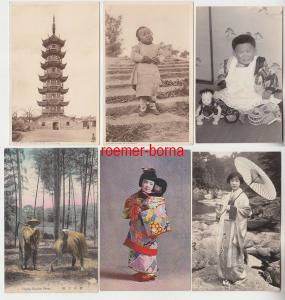 74182 / 6 Ak China, Japan Kinder, Pagode, Bambus ernten um 1930