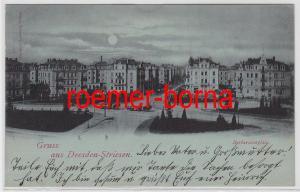 81999 Ak Gruss aus Dresden-Striesen Barbarossaplatz 1899