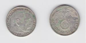 2 Mark Silber Münze 3.Reich Hindenburg 1936 G Jäger 366 (134987)