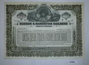 Bis 100 Stück Aktie Hudson & Manhattan Railroad Company ungezeichnet (127858)