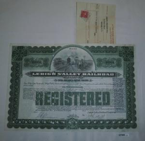 1000 Dollar Aktie Lehigh Valley Railroad State of Pennsylvania Feb 1942 (127855)