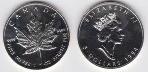 5 Dollar Silber Münze Canada Kanada Maple Leaf 1994 (124148)