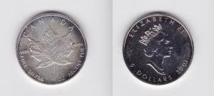 5 Dollar Silber Münze Kanada Meaple Leaf 2001 1 Unze Feinsilber (119865)