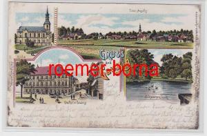 81457 Ak Lithografie Gruss aus Gaussig Gasthof, Schwanenteich usw. 1900