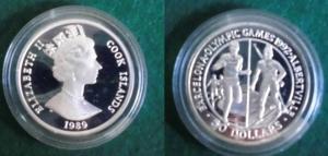 50 Dollar Silbermünze Cook Inseln Olympia Barcelona/Albertville 1989 (125718)