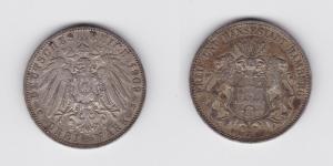 3 Mark Silbermünze Freie und Hansestadt Hamburg 1909 J Jäger 64  (119478)
