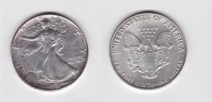 1 Dollar Silber Münze Silver Eagle USA 1991 1 Unze Feinsilber  (119843)