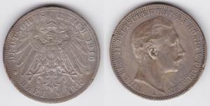 3 Mark Silbermünze Preussen Kaiser Wilhelm II 1910 Jäger 103  (123533)
