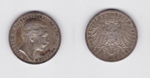 3 Mark Silbermünze Preussen Kaiser Wilhelm II 1909 Jäger 103  (119477)
