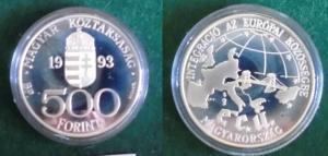 500 Forint Silber Münze Ungarn 1993 Karte Europas mit der Kettenbrücke (123819)