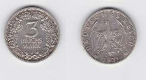 3 Mark Silber Münze Weimarer Republik Kursmünze 1931 J Jäger 349 (135208)