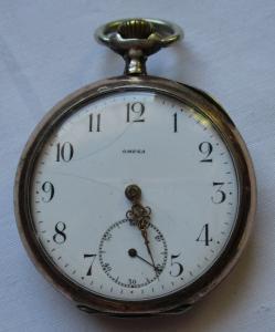 Elegante Lépine Herren Taschenuhr Omega 800er Silber um 1920 (124512)