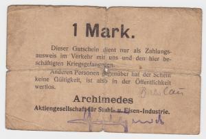 1 Mark Banknote Notgeld Archimedes AG für Stahl- & Eisen Industrie 1.WK (130205)