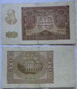 100 Zloty Banknote Polen Krakow Krakau 1.März 1940 (100559)