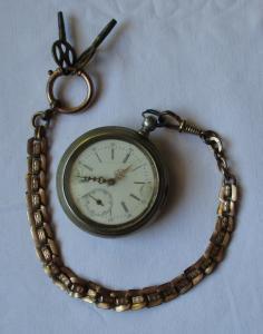Seltene Nickel Herren Taschenuhr mit Schlüsselaufzug um 1900 (124810)