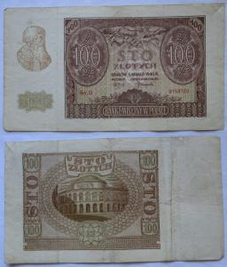 100 Zloty Banknote Polen Krakow Krakau 1.März 1940 (100630)