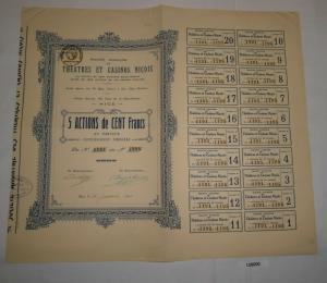 5 Aktien à 100 Franc Théatres et Casinos Niçois Nice 15. Januar 1925 (128000)