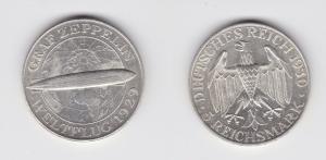 5 Mark Silber Muenze Graf Zeppelin Weltflug 1930 A vz+ (130696)
