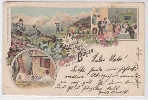17483 Humor Ak Lithographie Gruß aus den Bergen um 1900