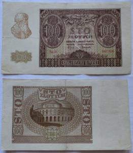 100 Zloty Banknote Polen Krakow Krakau 1.März 1940 (105916)