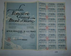 100 Francs Aktie La Foncière Tassy Mont-Blanc 29. November 1928 (127804)
