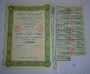 100 Francs Aktie Union Commerciale & Industrielle de Paris Oktober 1928 (127812)