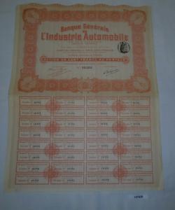 100 Francs Aktie Banque Générale de l'Industrie Automobile Paris (127828)